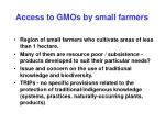 access to gmos by small farmers