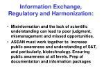 information exchange regulatory and harmonization24