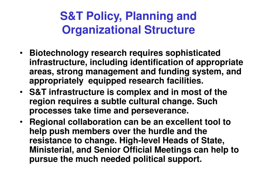 S&T Policy, Planning and Organizational Structure