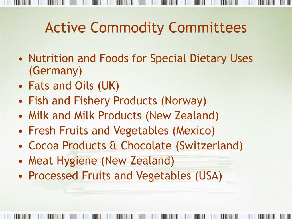 Active Commodity Committees