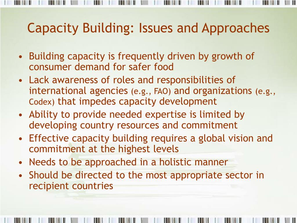 Capacity Building: Issues and Approaches