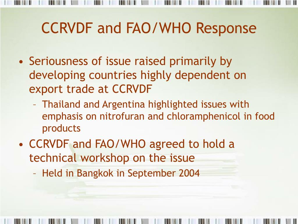 CCRVDF and FAO/WHO Response
