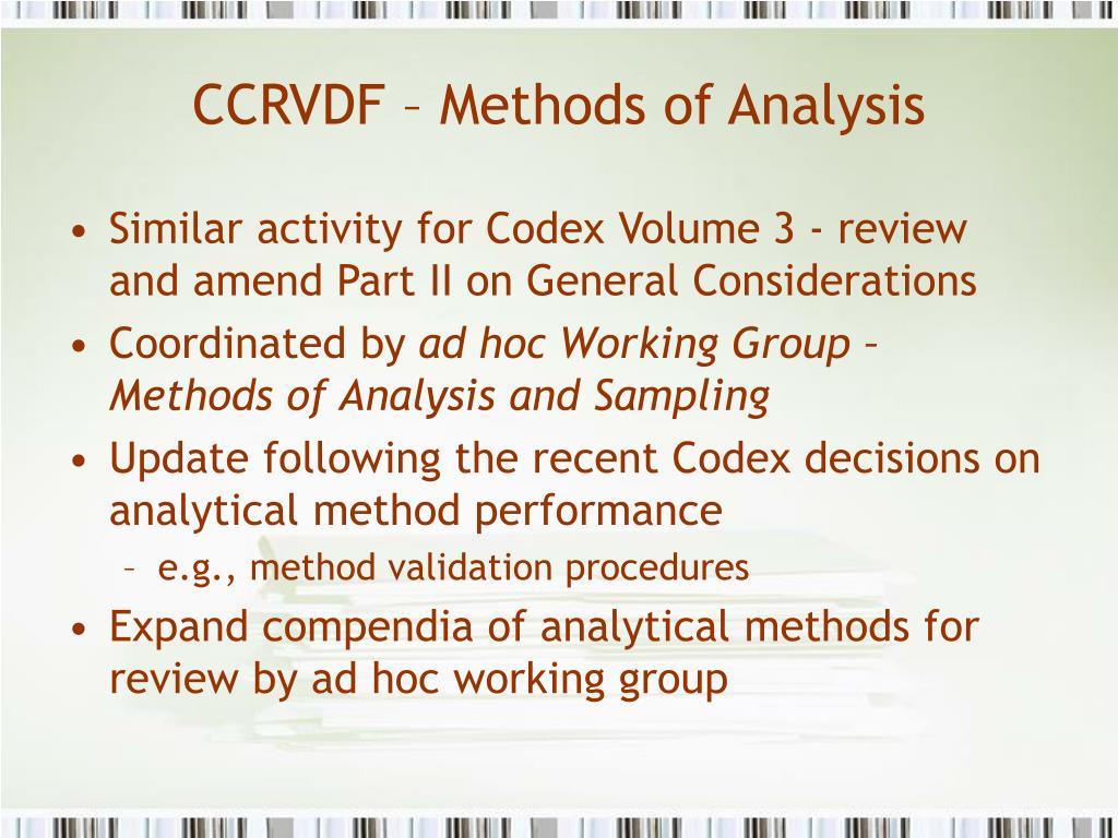 CCRVDF – Methods of Analysis