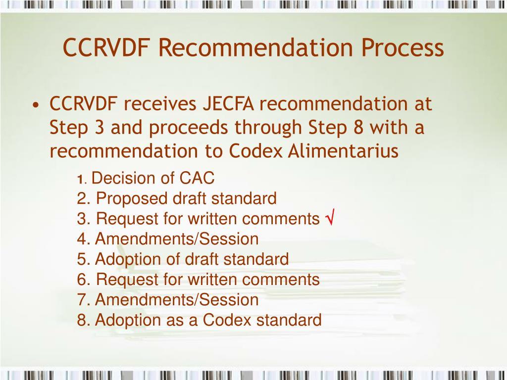 CCRVDF Recommendation Process