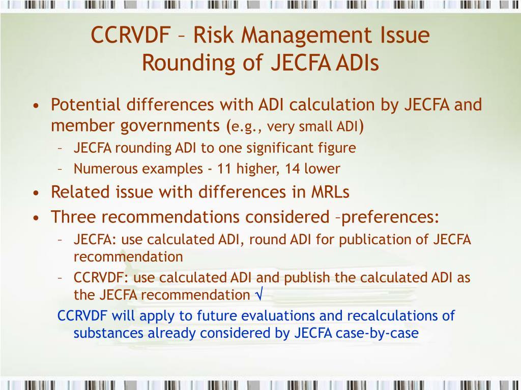 CCRVDF – Risk Management Issue