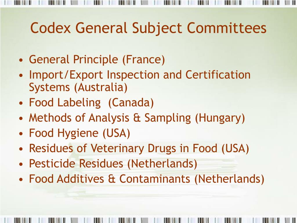 Codex General Subject Committees