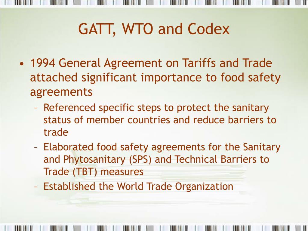 GATT, WTO and Codex