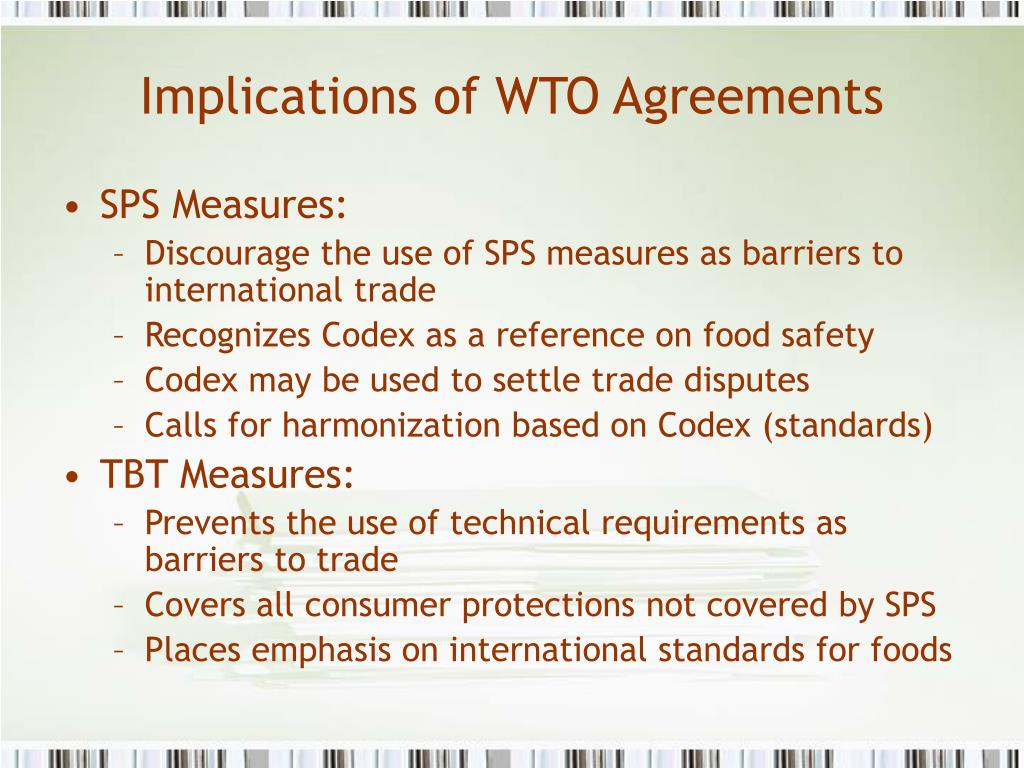 Implications of WTO Agreements
