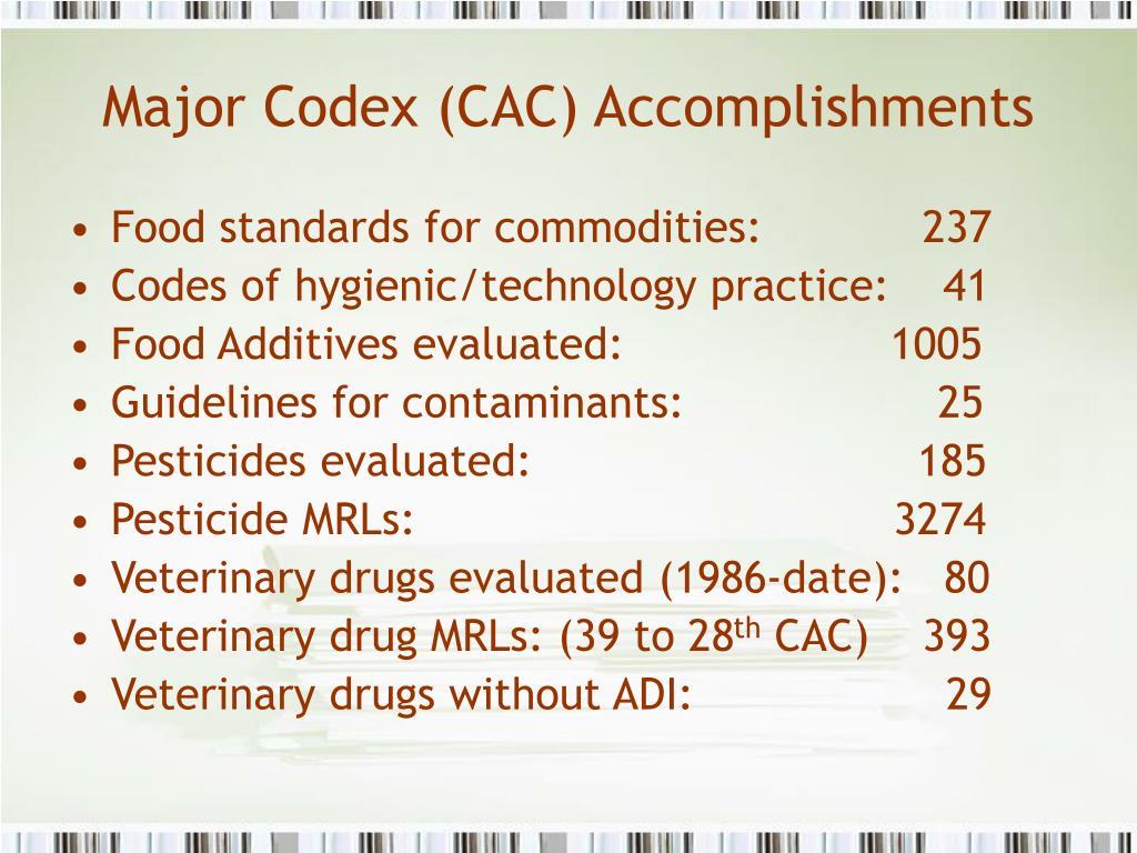Major Codex (CAC) Accomplishments