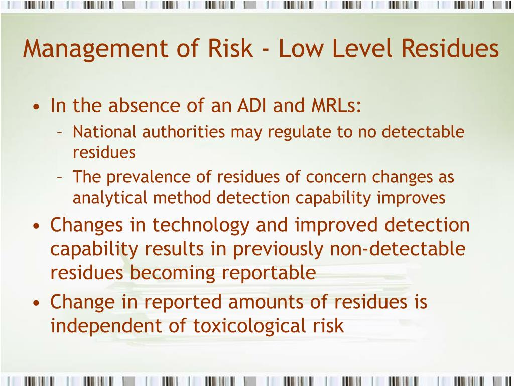 Management of Risk - Low Level Residues