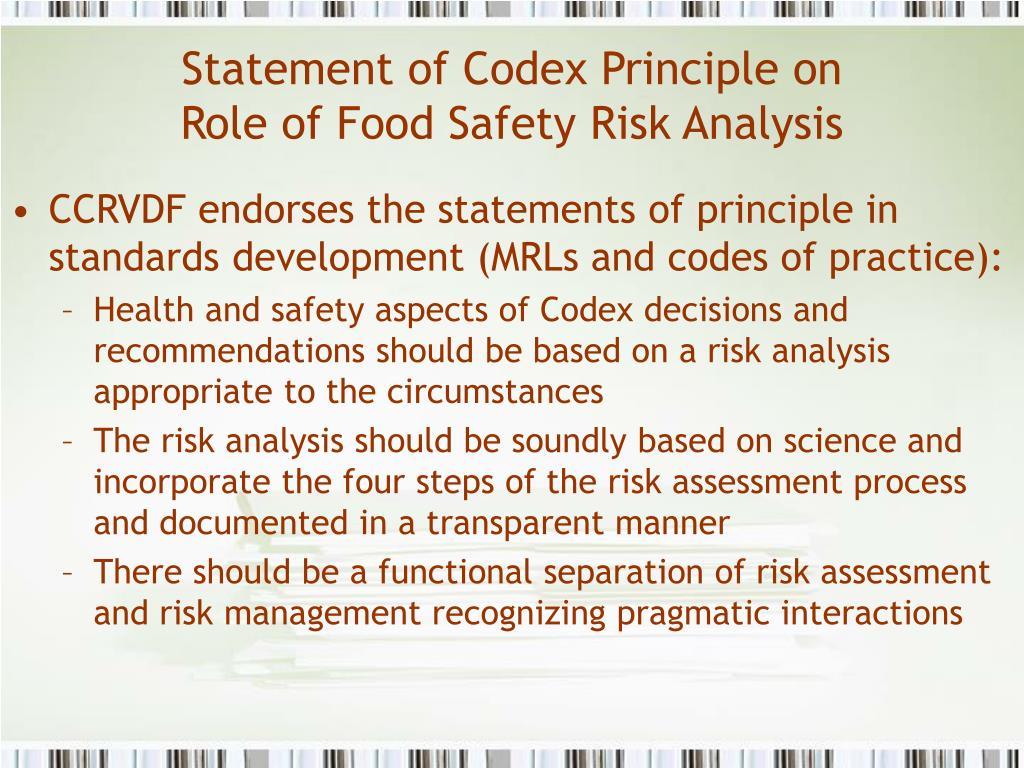 Statement of Codex Principle on
