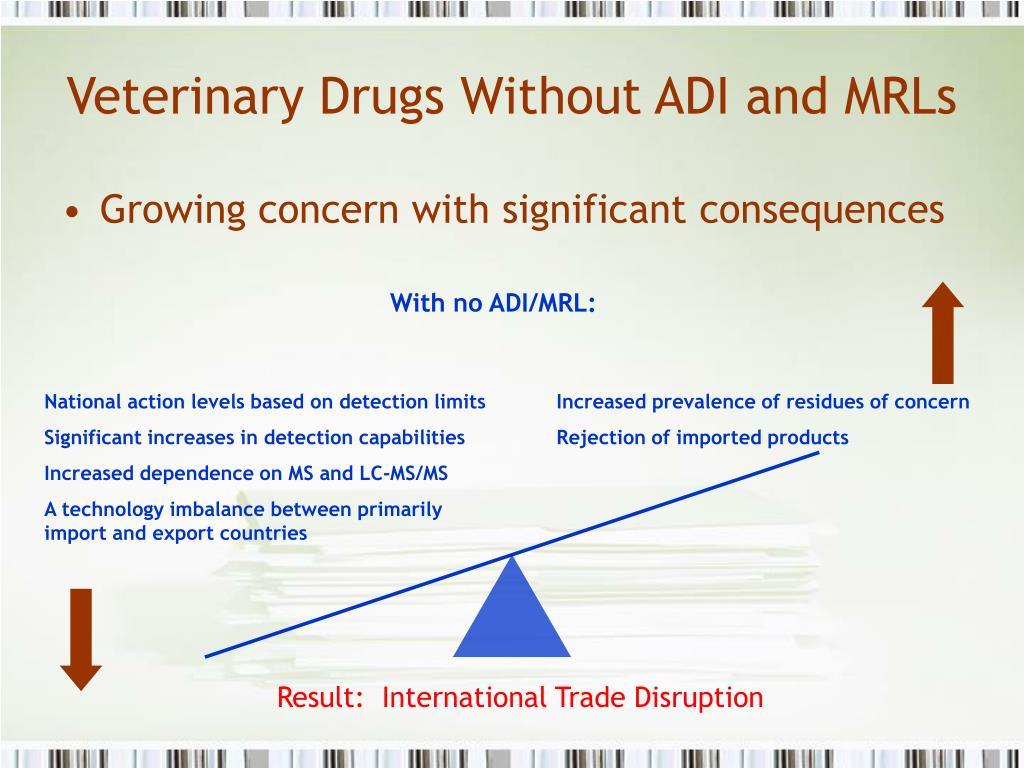 Veterinary Drugs Without ADI and MRLs