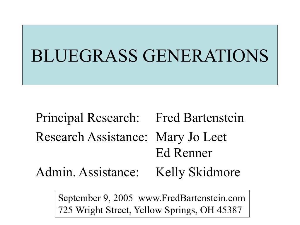 BLUEGRASS GENERATIONS