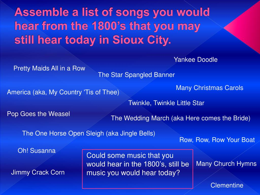 Assemble a list of songs you would hear from the 1800's that you may still hear today in Sioux City.
