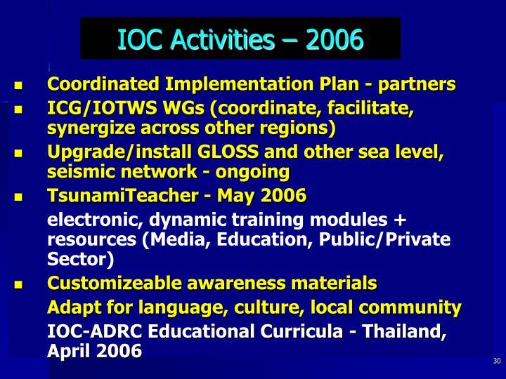 IOC Activities – 2006