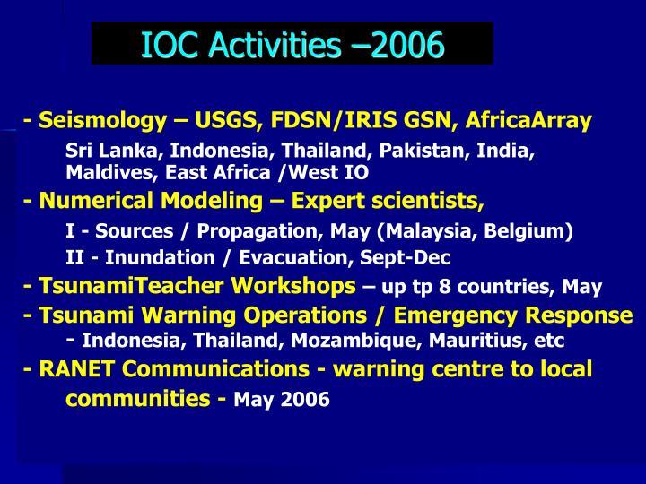 IOC Activities –2006