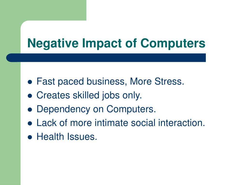 Negative Impact of Computers