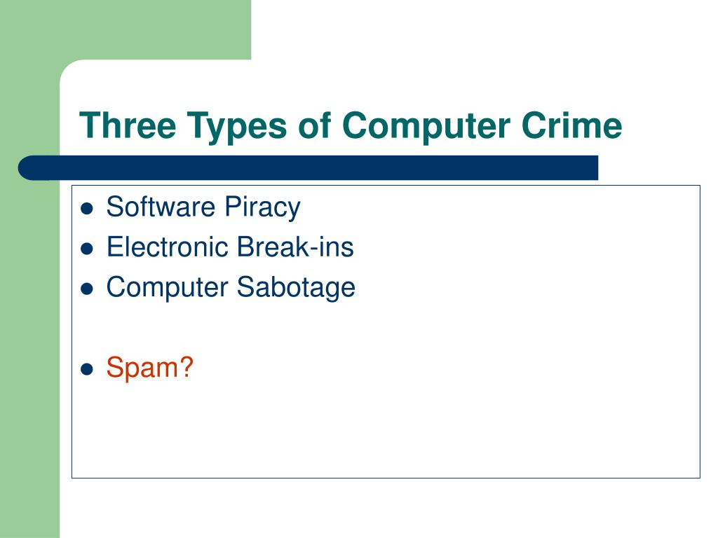 Three Types of Computer Crime