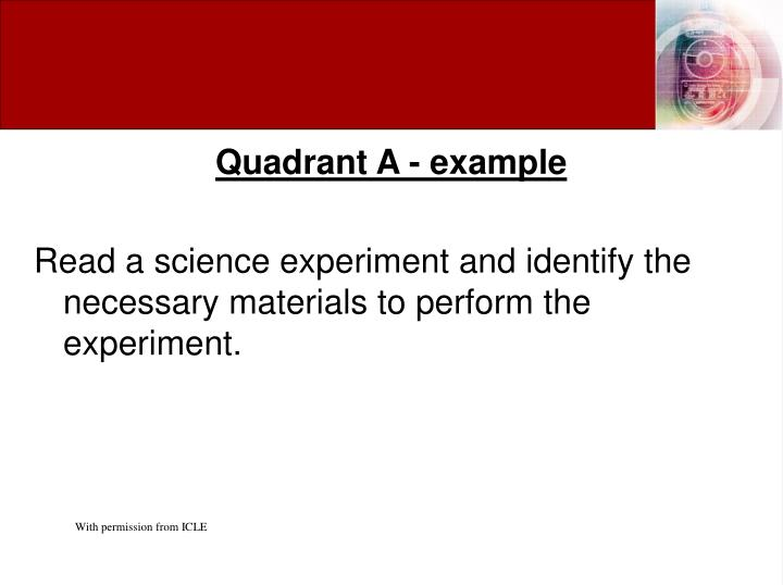 Quadrant A - example