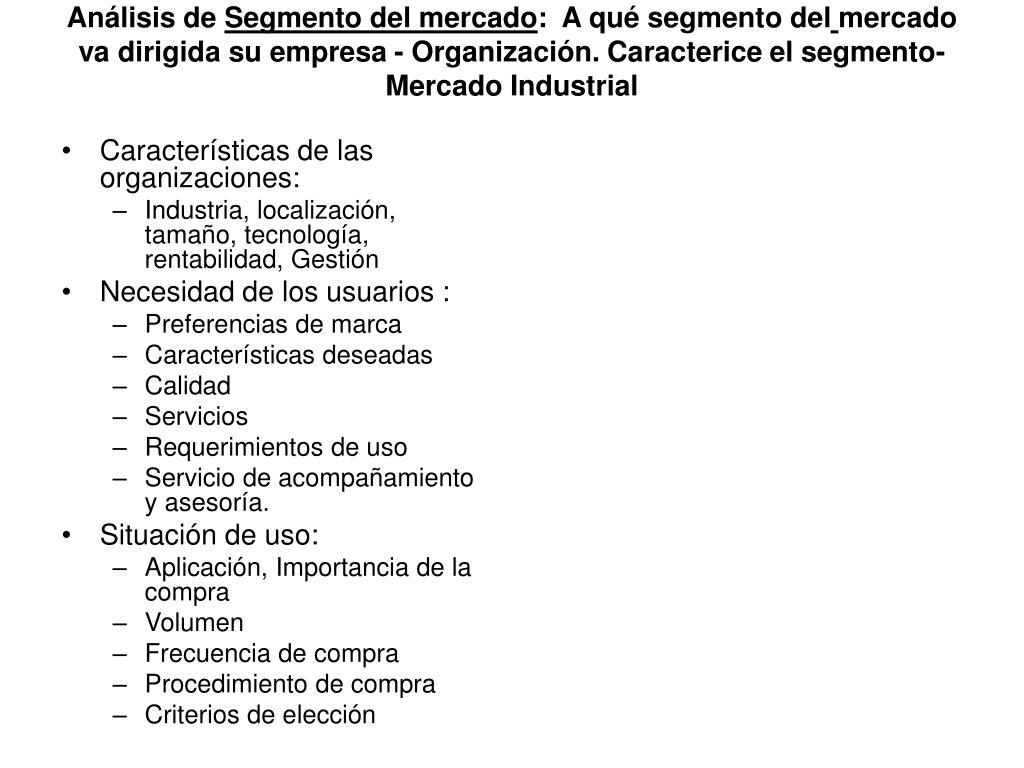Características de las organizaciones: