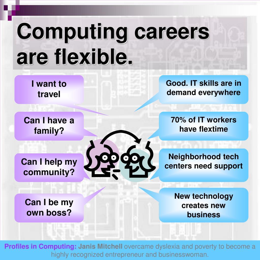 Computing careers are flexible.