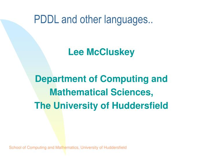 Pddl and other languages