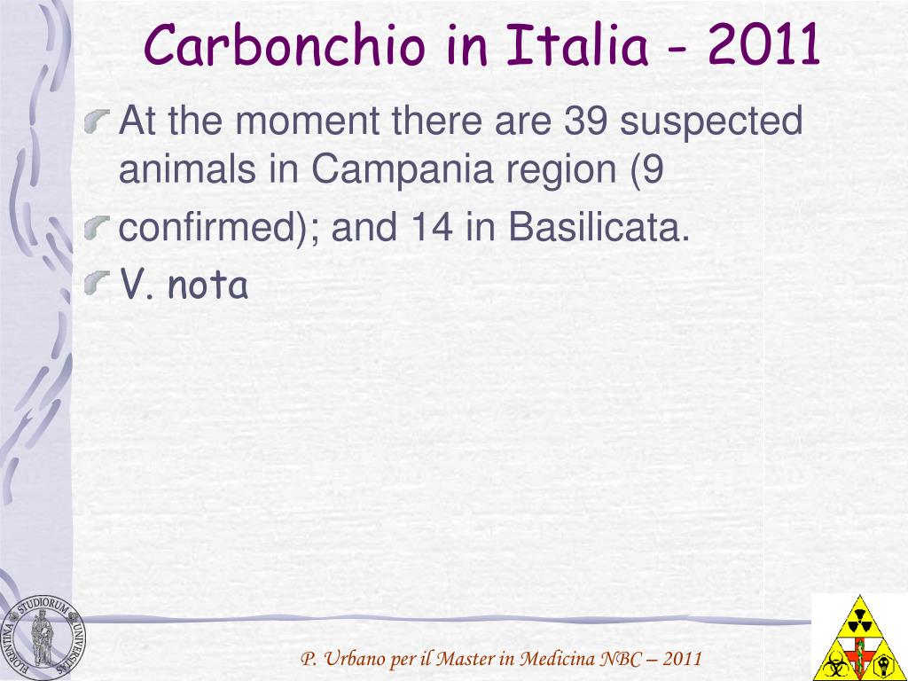 Carbonchio in Italia - 2011