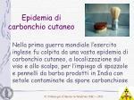 epidemia di carbonchio cutaneo