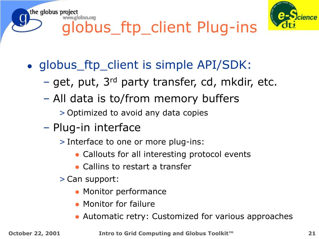 globus_ftp_client Plug-ins
