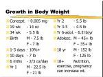 growth in body weight