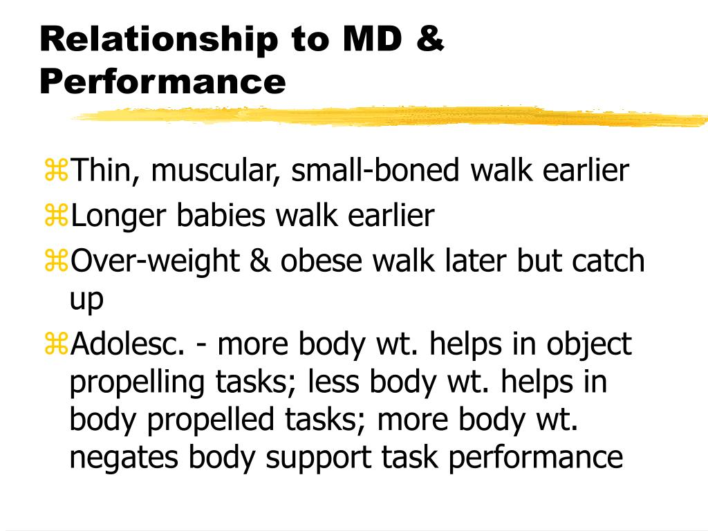 Relationship to MD & Performance