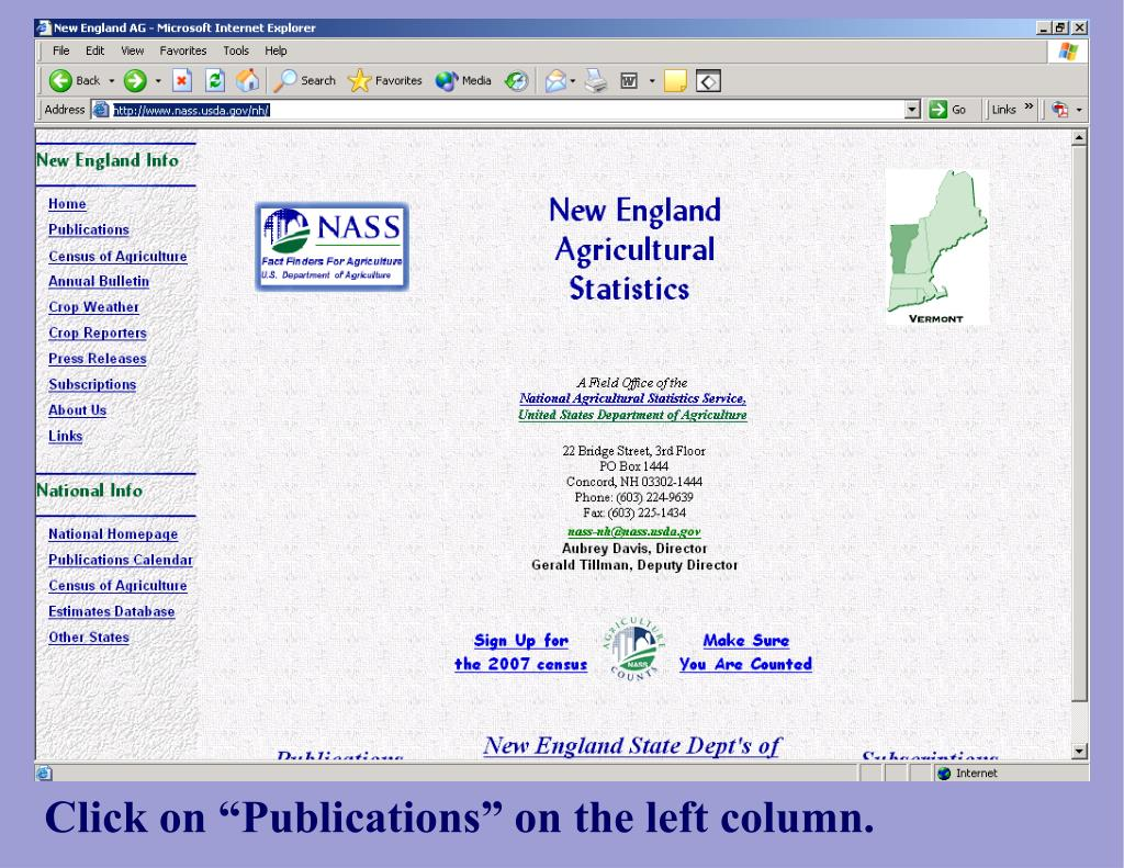 """Click on """"Publications"""" on the left column."""