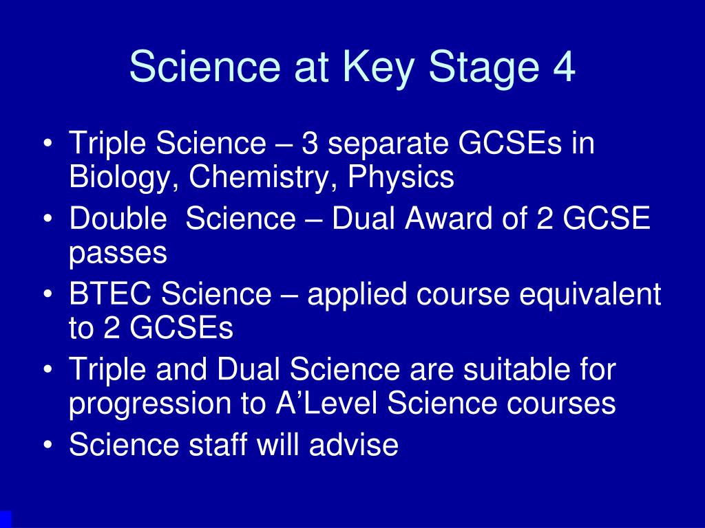 Science at Key Stage 4