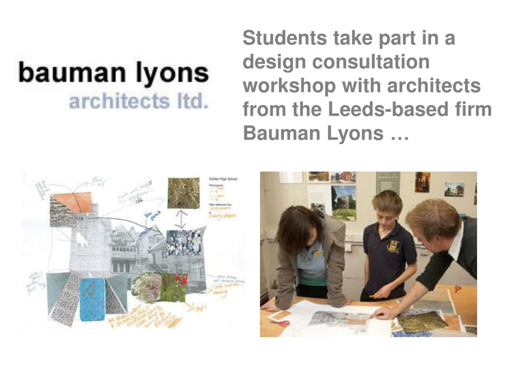 Students take part in a design consultation workshop with architects from the Leeds-based firm Bauman Lyons …