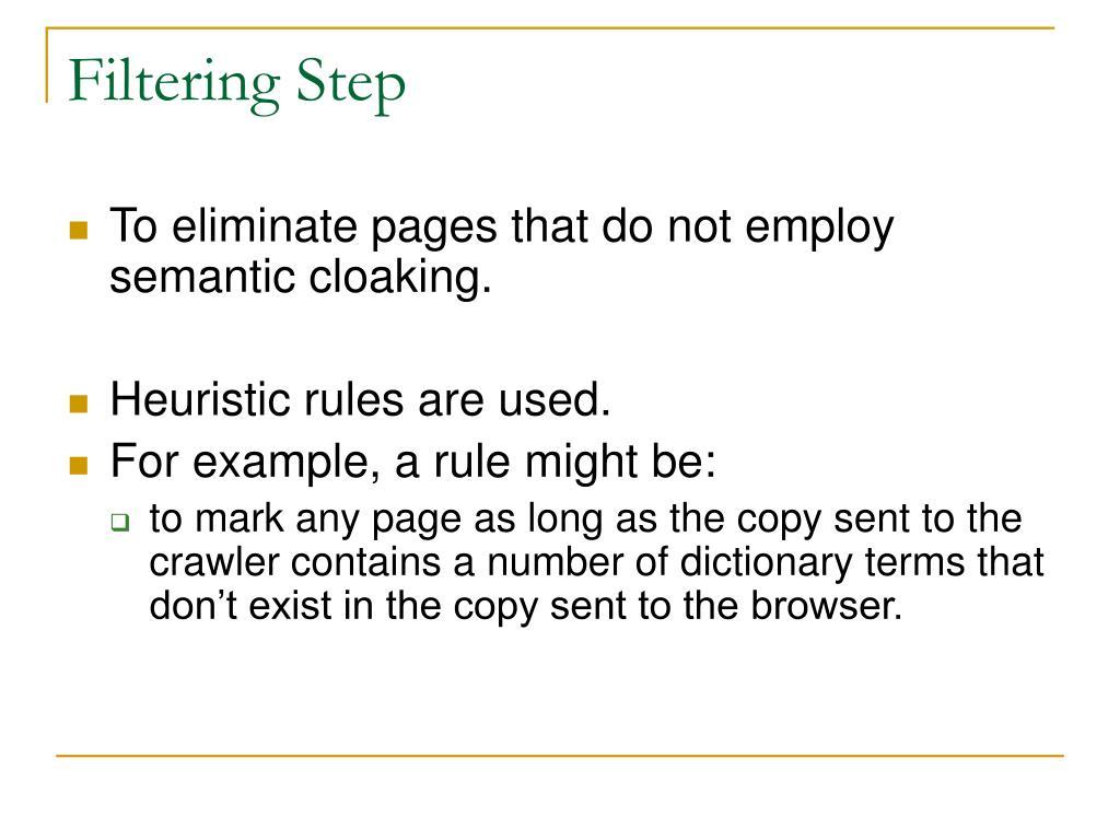 Filtering Step