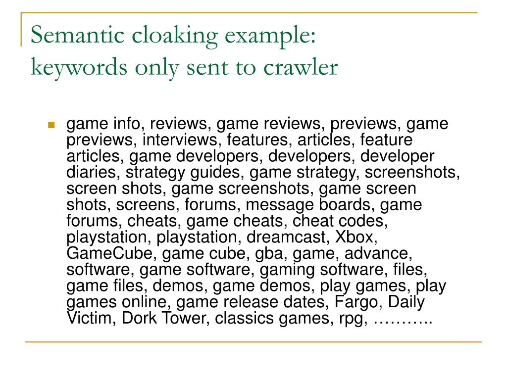 Semantic cloaking example: