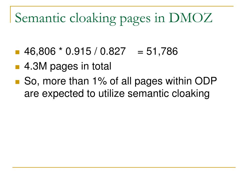 Semantic cloaking pages in DMOZ