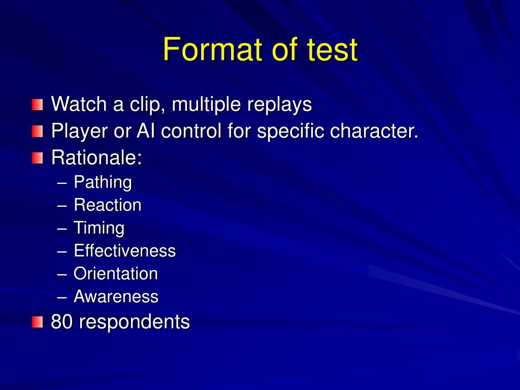 Format of test
