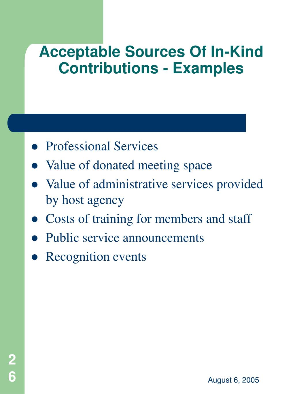 Acceptable Sources Of In-Kind Contributions - Examples