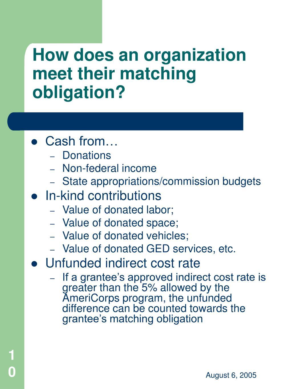 How does an organization meet their matching obligation?