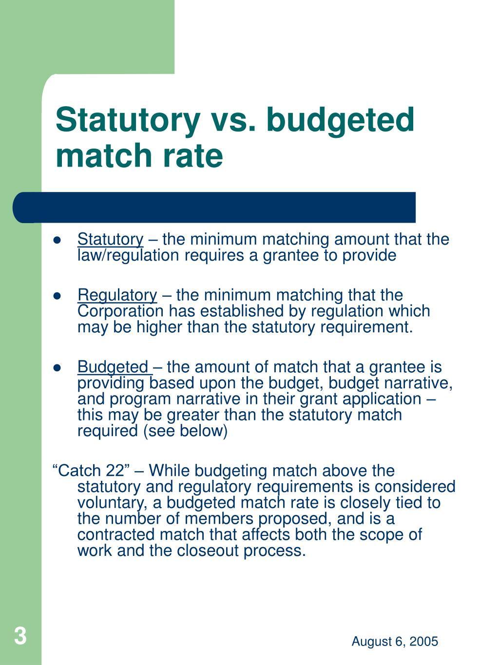 Statutory vs. budgeted match rate