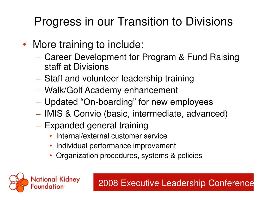 Progress in our Transition to Divisions