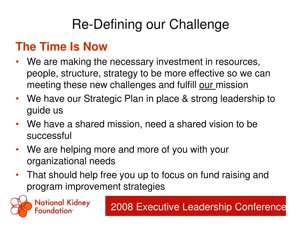 Re-Defining our Challenge