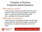 transition to divisions frequently asked questions