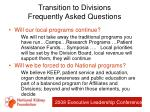 transition to divisions frequently asked questions74
