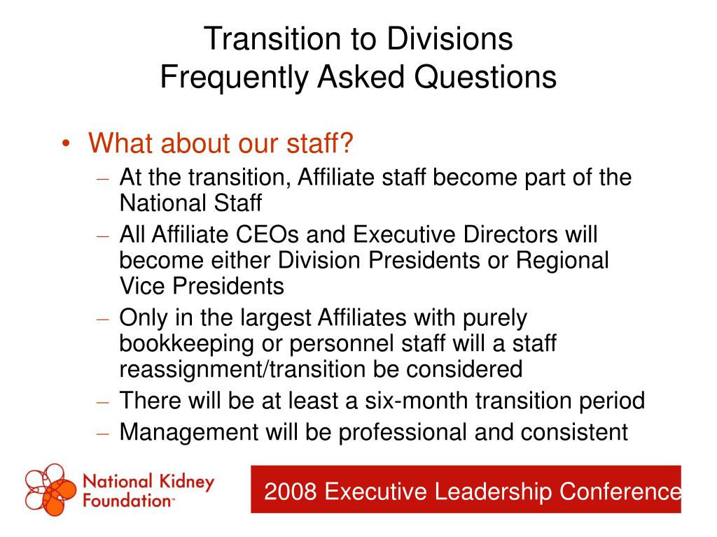 Transition to Divisions
