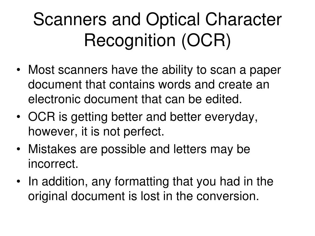 Scanners and Optical Character Recognition (OCR)
