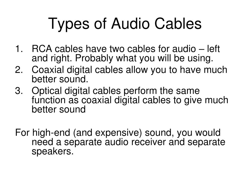 Types of Audio Cables