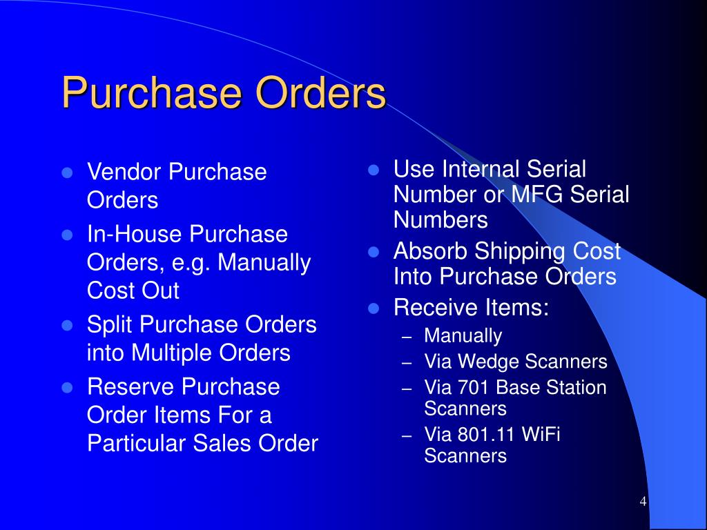 Vendor Purchase Orders