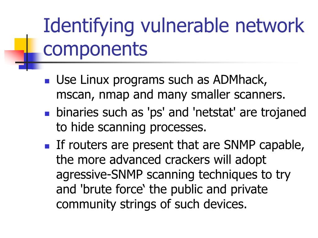 Identifying vulnerable network components